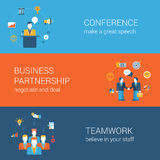 Business people flat web banners template set  infographic. Business people lifestyle concept flat  icon banners template set. Conference, presentation Stock Images