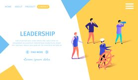 Business People Floating on Imaginary Boat to Aim. Leadership Horizontal Banner with Copy Space. Business People Floating on Imaginary Boat Leader at Helm royalty free illustration
