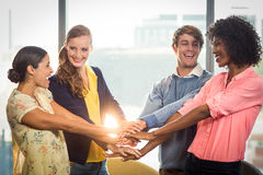 Business people forming hands stack Royalty Free Stock Images