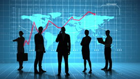 Business people in front of global business interface stock footage