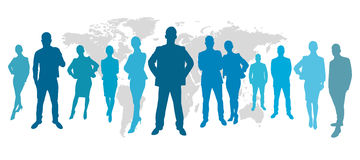 Business people in front of a map Royalty Free Stock Photos
