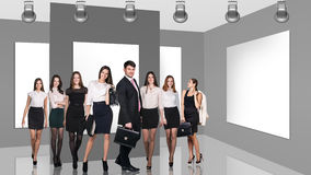 Business people in gallery Royalty Free Stock Photos