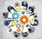 Business People with Gears and Teamwork Concept.  Royalty Free Stock Photography