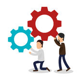 Business people with gears training icon Royalty Free Stock Image