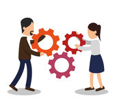 Business people with gears training icon Stock Photography
