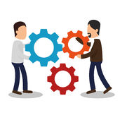 Business people with gears training icon Stock Photo