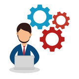 Business people with gears training icon Royalty Free Stock Images