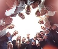 Business, people, gesture and teamwork concept - business team p Royalty Free Stock Photography
