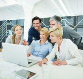 Business people getting computer Stock Photos