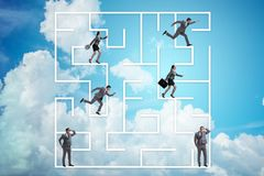 The business people getting lost in maze uncertainty concept. Business people getting lost in maze uncertainty concept Royalty Free Stock Image