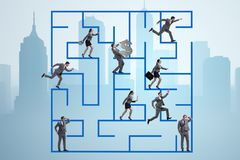 The business people getting lost in maze uncertainty concept. Business people getting lost in maze uncertainty concept Royalty Free Stock Images