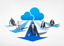 Business People Getting Ready to Run and the Cloud Behind Royalty Free Stock Images