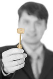 Business people gives us a golden key Stock Photo