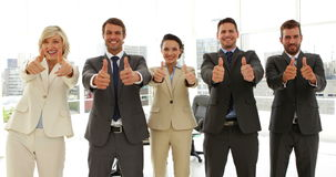 Business people giving thumbs up standing in a row