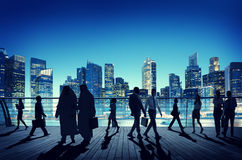 Business People Global Commuter Walking City Concept.  Stock Images