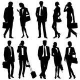 Business people - global team - vector silhouettes Royalty Free Stock Image
