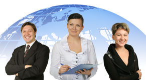 Business people and globe on a back Stock Photography
