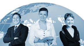 Business people and globe on a back Stock Photo