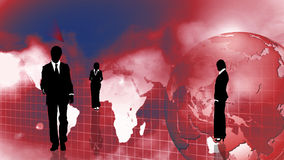 Business people with globe background Stock Photography