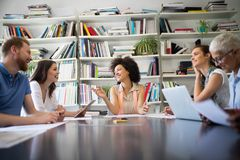 Business people good teamwork in office. Teamwork successful meeting workplace concept. stock photography