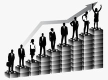 Business people and graph. Illustration of business people and graph Royalty Free Stock Images