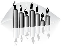 Business people and graph. Illustration of business people and graph Royalty Free Stock Photo