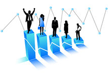Business people and graph. Illustration of business people and graph, blue Royalty Free Stock Photos
