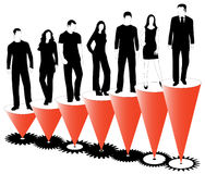 Business people, graph and cogwheels Royalty Free Stock Image