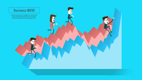 Business people on the graph. stairway to progress. Flat infographic elements, banner, book  annual report, magazine  design. vector illustration Royalty Free Stock Photos