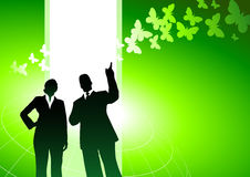 Business people with green background Stock Image