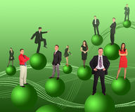 Business people on green balls