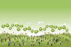Business people on Green hills. Landscape talking by speech balloon with recycle icon Royalty Free Stock Photography