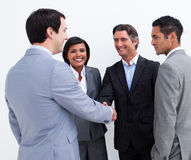 Business people greeting each other Stock Images
