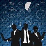 Business people group black silhouette with chart diagram Royalty Free Stock Photography
