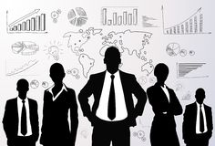 Business people group black silhouette graph. Business people group black silhouette concept businesspeople team graph finance chart diagram background Stock Photos