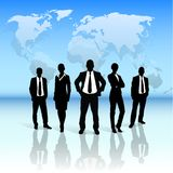 Business people group black silhouette over world Royalty Free Stock Images