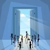 Business People Group Black Silhouette Standing at Door Entrance Royalty Free Stock Images
