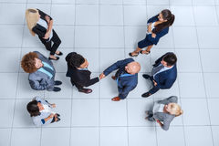 Business People Group Boss Hand Shake Welcome Gesture Top Angle View, Businesspeople Team Handshake Stock Photography