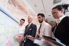 Business people group brainstorming and taking notes to flipboar Stock Photos