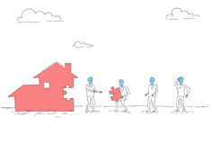 Business People Group Build House Team Investment Together Concept. Vector Illustration Royalty Free Stock Photo