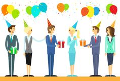 Business people group celebrate birthday holiday. Event vector illustration Royalty Free Stock Photography