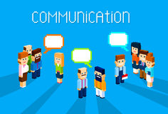 Business People Group Chat Communication Bubble Concept, Business People Talking Discussing 3d Isometric Stock Image