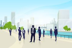 Business people group city landscape office Royalty Free Stock Image