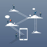 Business People Group On Clouds, Connection Technology Online Internet Corporate Data Access Royalty Free Stock Photos