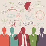 Business people group color silhouette with chart diagram. Business people group color silhouette concept Royalty Free Stock Photo
