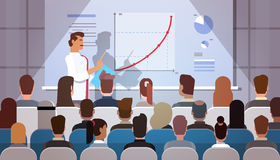 Business People Group at Conference Meeting Training Courses Flip Chart with Graph. Flat Vector Illustration Royalty Free Stock Photography