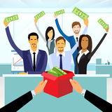 Business People Group Crowd Funding Put Money. Donation in Box, Concept Investors Vector Illustration Royalty Free Stock Photo