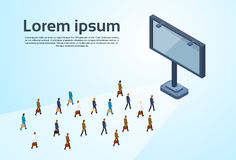 Business People Group Empty Billboard 3d Isometric Stock Photo