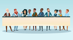 Business People Group Executives Team with Banner Board Copy Space. Flat Vector Illustration Royalty Free Stock Images