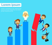 Business People Group Fall Down Financial Bar. Chart Crisis Concept Flat Vector Illustration Royalty Free Stock Photo